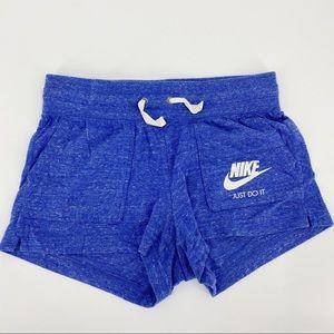 Nike blue soft shorts with drawstrings